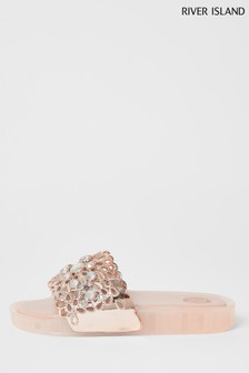 River Island Pink Moulded Rubber Gem Sliders