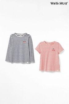 White Stuff Mini T-Shirts mit Kirschen und Streifen im Zweierpack