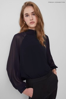 French Connection Blue Noemi Jersey High Neck Top