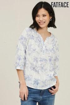 FatFace Elodie Vintage Popover-Bluse mit Flamingomotiv, naturfarben