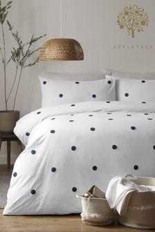 Appletree Navy Dot Garden Tufted Duvet Cover and Pillowcase Set
