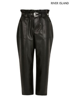 River Island Black Western Belted PU Peg Trousers