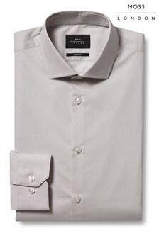 Moss London Slim Fit Stone Single Cuff Stretch Shirt