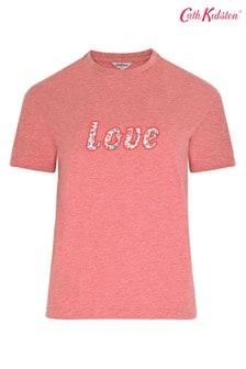 Cath Kidston® T-Shirt mit Love-Stickerei, Pink