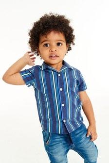 Рубашка в полоску с короткими рукавами  (3 мес.-7 лет)