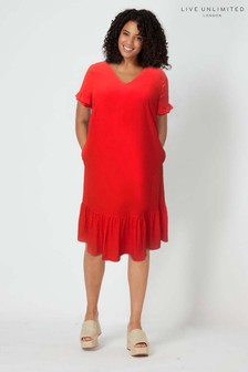Live Unlimited Red Frilly Shift Dress