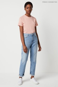 French Connection Blue Palmira Denim High Waist Straight Leg Jeans