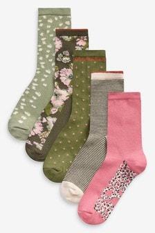5 пар носков с цветочным принтом