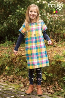 Frugi GOTS Blue Chambray, Check And Pony Organic Kids Reversible Dress