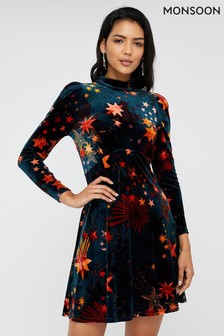 Monsoon Teal Starlet Print Velvet Dress