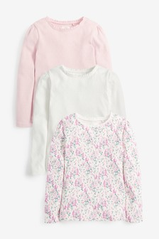 3 Pack Pink Pointelle Tops (3-16yrs)
