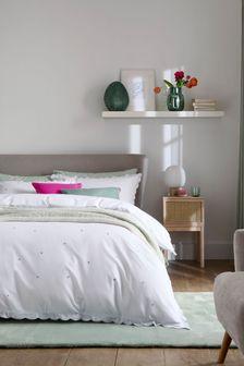 White Scalloped Edge Dot Embroidered Duvet Cover and Pillowcase Set