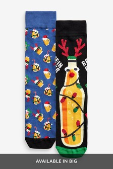 Beer Christmas Novelty Pattern Socks Two Pack