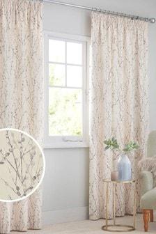 Серые плиссированные шторы с изящным принтом ивы, подкладкой и плиссировкой