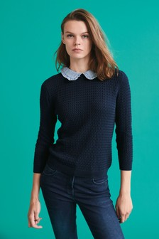 Stitch Detail Collar Layer Knit Top