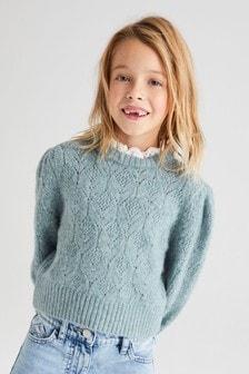 Maglione con lavorazione traforata e colletto (3-16 anni)