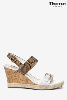 Dune London Kendyll White Leather Strapped Wedges