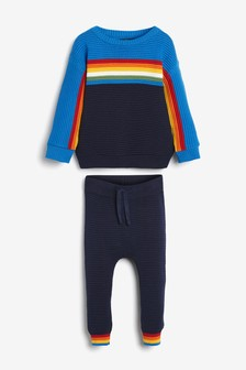Knitted Ripple Jumper And Joggers Set (3m-cy-7lata)