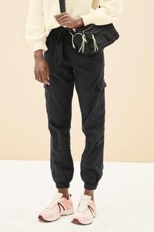 Саржевые брюки в стиле милитари с манжетами