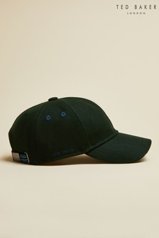 Ted Baker Green Fernly Stitch Detail Wool Baseball Cap