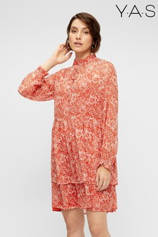 Y.A.S Red Floral Midi Shirt Dress
