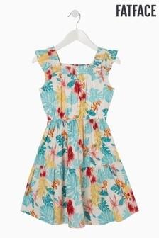 FatFace Natural Palm Floral Woven Dress