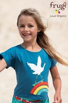 Frugi GOTS Organic Navy T-Shirt With A Rainbow And Crane