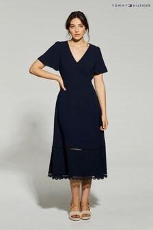 فستان مناسبات أزرق متوسط الطول منTommy Hilfiger