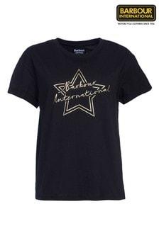 חולצתטיEstoril שחורה עם לוגו כוכבים בזהב מסדרתInternational שלBarbour®