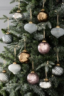 Set Of 12 Shaped Glass Baubles (237048)   $40