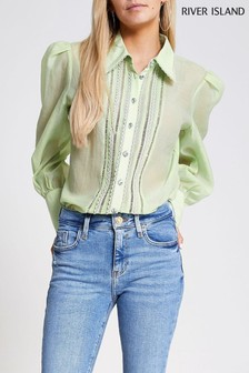 River Island Green Light Sheer Shirt