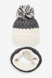 Colourblock Hat And Scarf 2 Piece Set (Older)