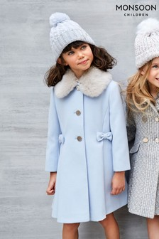Monsoon Blue Bow Coat