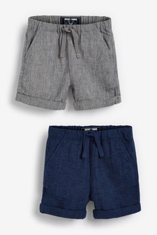2 Pack Linen Blend Pull-On Shorts (3mths-7yrs)