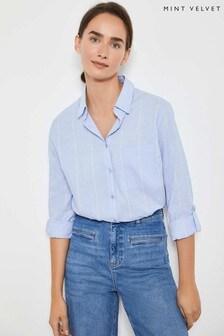 Mint Velvet Blue Chambray Stripe Shirt
