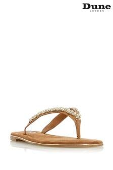 Dune London Newbeys Tan Micro Fibre Embellished Flat Sandals