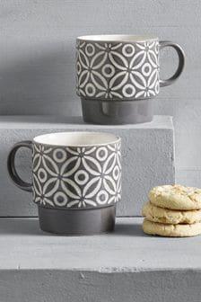 Geo Set of 4 Small Stacking Mugs Embossed