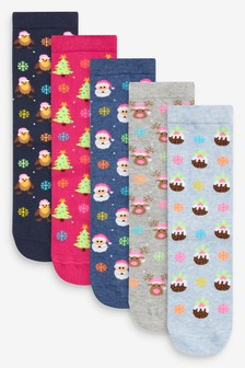 Christmas Neon Ankle Socks 5 Pack
