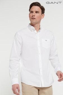 Рубашка классического кроя из тонкой хлопковой ткани с отблеском GANT