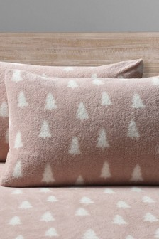 Fleece Winter Trees Fitted Sheet and Pillowcase Pair