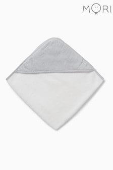 מגבת אמבטיה לתינוקות עם קפוצ׳ון בלבן שלMORI