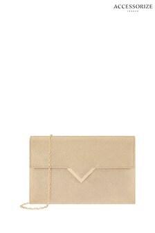 Accessorize Gold Natalie Envelope Clutch