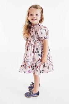 Присборенное платье с пышными рукавами (3 мес.-7 лет)