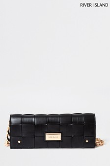 River Island Black Woven Baguette Bag