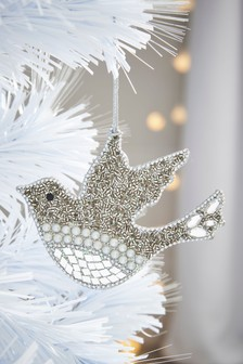 Beaded Dove Bauble