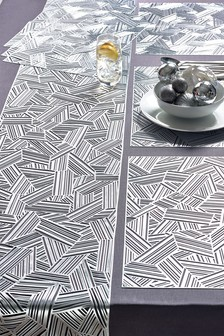 Set Of 6 Metallic Geo Placemats And Table Runner (237944)   $26