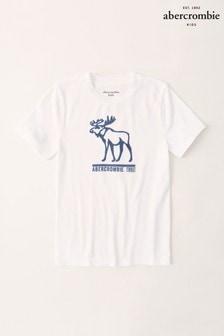 Biele tričko s logom Abercrombie & Fitch