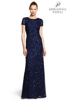 Adrianna Papell Rückenfreies langes Kleid, blau