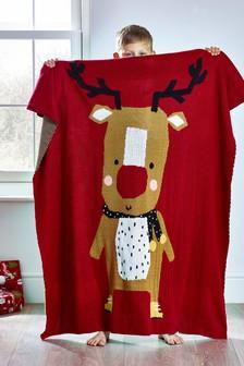 Dzianinowa narzuta świąteczna z Rudolfem