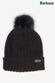 Barbour® Rib Knit Beanie With Faux Fur Pom